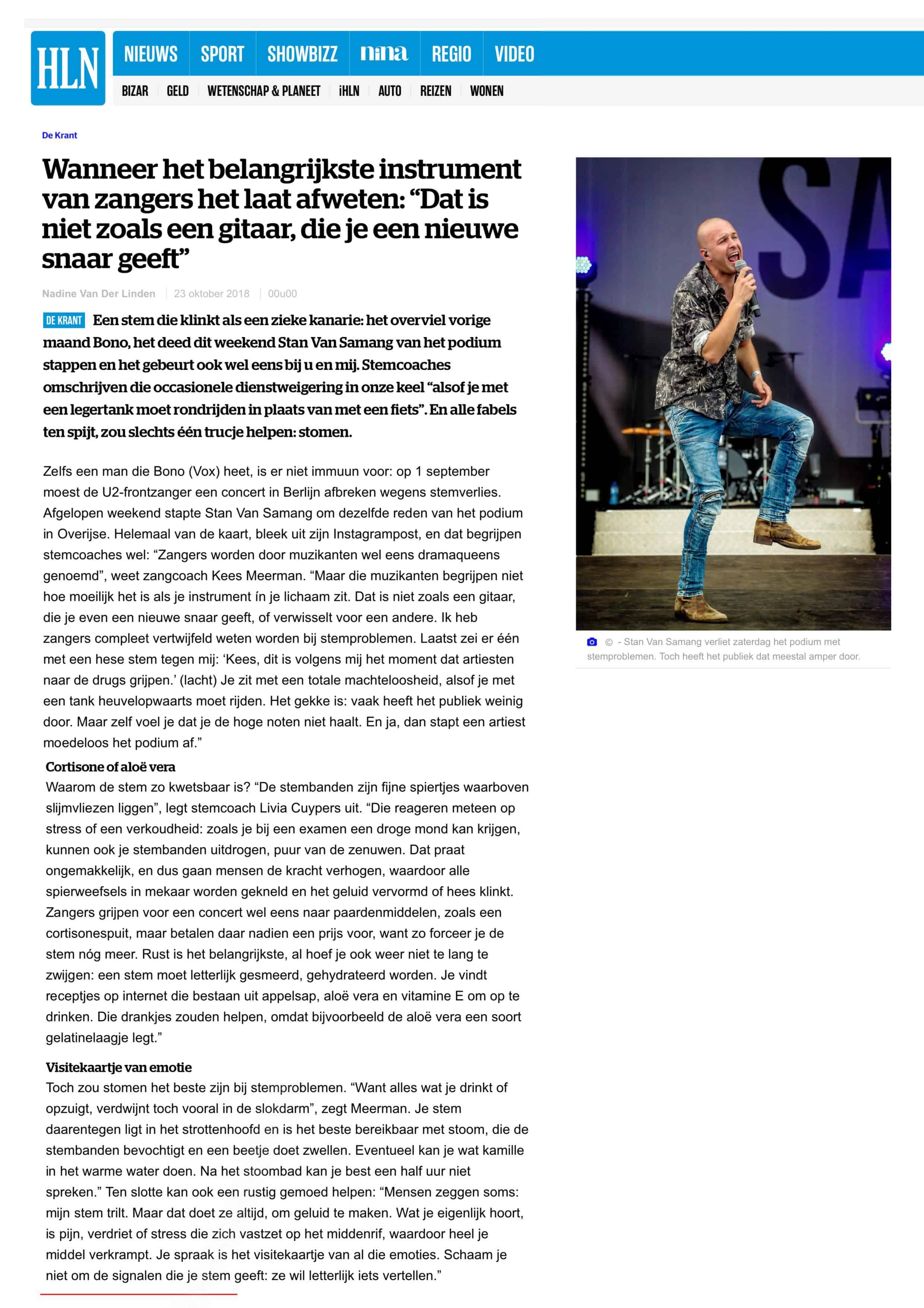 Interview met De Zangcoach in Het Laatste Nieuws